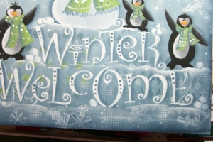 winter welcome shade around lettering